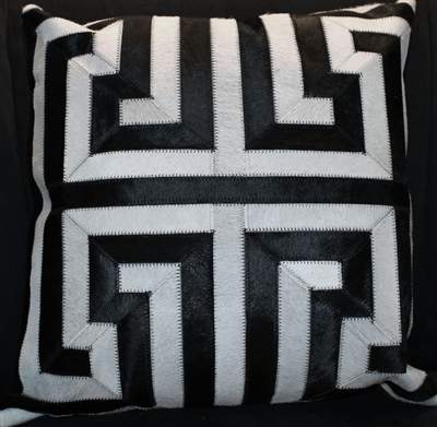 Black and White Greek Key Pattern Cow Hide Pillow 18x18 MH25500