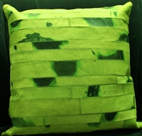 Green Cow Hide Pillow 18x18 MH25600