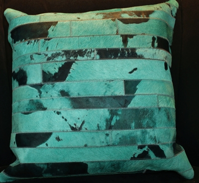 Turquois Cow Hide Pillow 18x18 MH25700