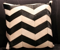 "Black/White Chevron Stripe Cow Hide Pillow 18""x18"" MH25800"