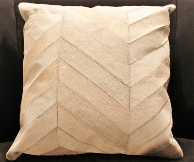 "Cream Herringbone Pattern Hide Pillow 18""x18"" MH25900"
