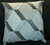 "Grey/Cream 3D Block Cow Hide Pillow 18""x18"" MH26000"