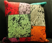 "Multi Color Patchwork Cow Hide Pillow 18""x18"" MH27100"