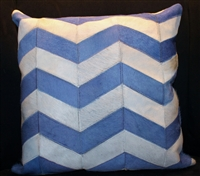 "Blue/White Chevron Stripe Cow Hide Pillow 18""x18"" MH27600"