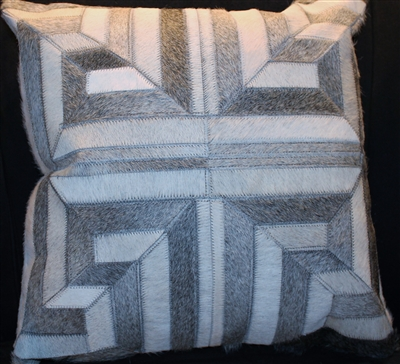 "Grey/White Greek Key Pattern Cow Hide Pillow 18""x18"" MH27700"
