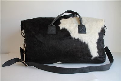 Black/White Cow Hide Weekend Duffel - Lg