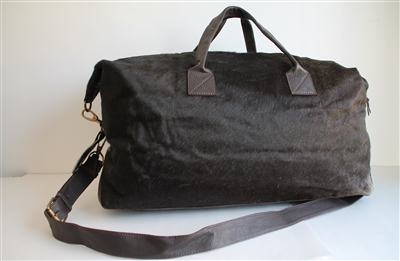 Brown Cow Hide Weekend Duffel - Lg