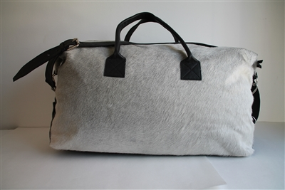 Grey Cow Hide Weekend Duffel - Lg