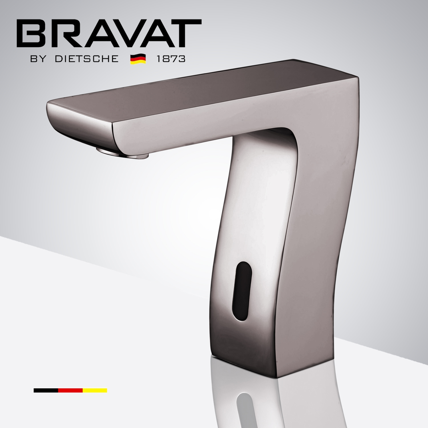 Bravat Commercial Brushed Nickel Automatic Hands Free Motion Sensor Faucet