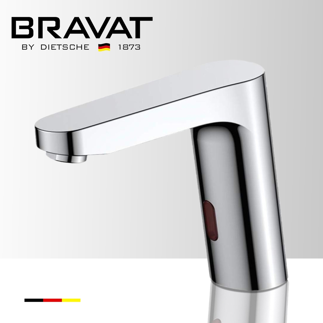 Bravat Commercial Deck Mount Chrome Automatic Motion Sensor Faucet