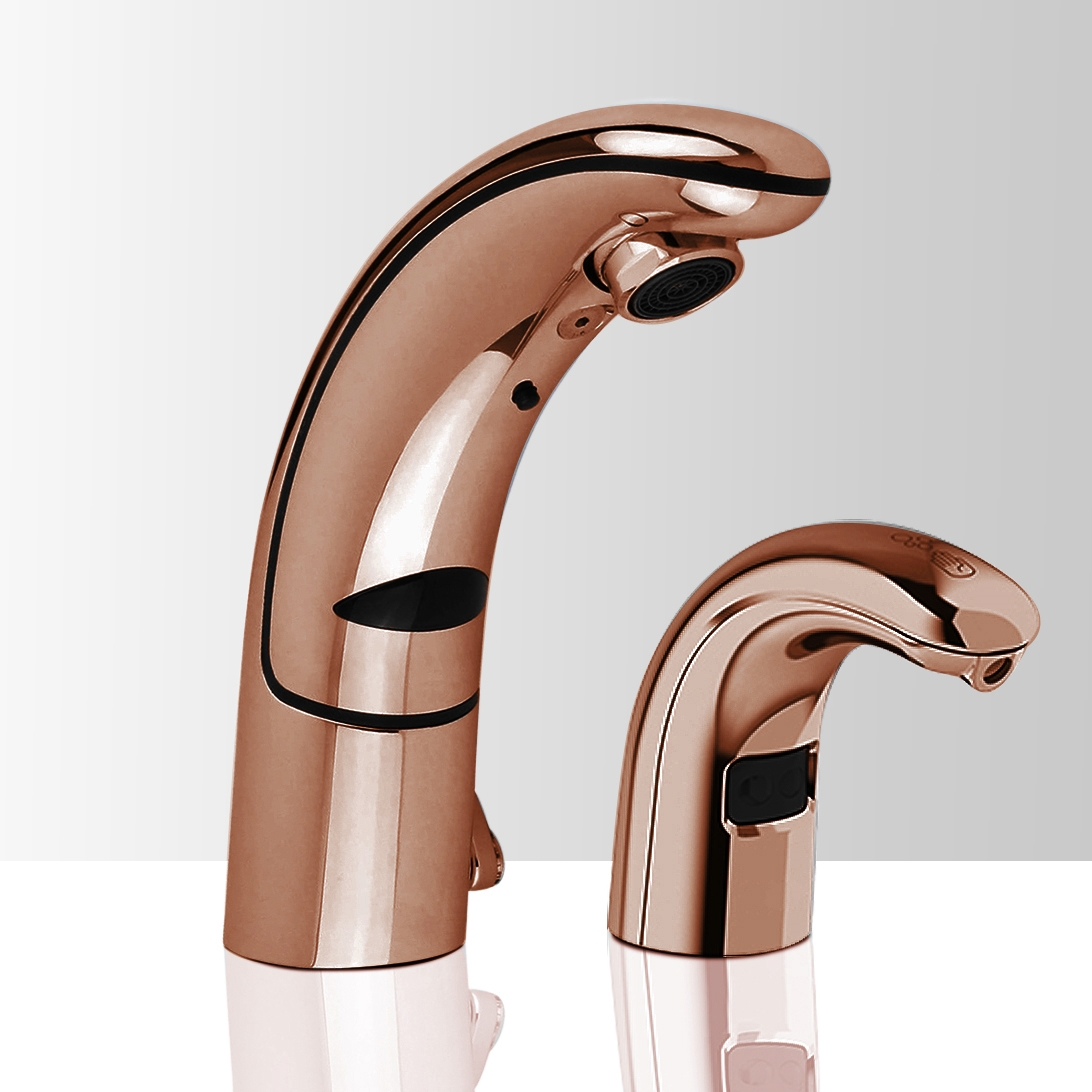 Commercial Rose Gold Automatic Temperature Control Thermostatic Sensor Tap and Matching Soap Dispenser