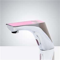 Fontana Napoli Commercial Motion Chrome Automatic Sensor Faucet Digital Display - Pink Top