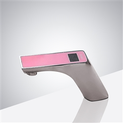 Fontana Napoli Commercial Motion Brushed Nickel Automatic Sensor Faucet Digital Display - Pink Top