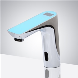 Fontana Napoli Commercial Digital Display Automatic Motion Sensor Faucet - Sky Blue Top