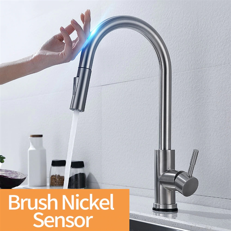 Fontana Chatou Brushed Nickel Stainless Steel Without Sensor Faucet with Pull Down Sprayer