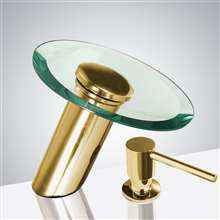 Fontana Gold Waterfall Automatic Motion Sensor Faucet with Manual Soap Dispenser