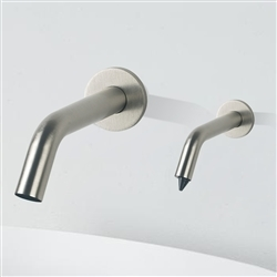 Fontana Milan Contemporary Style Brushed Nickel Finish Wall Mount Dual Commercial Sensor Faucet And Soap Dispenser