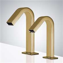Fontana Commercial Automatic Brushed Gold Motion Sensor Faucet & Automatic Soap Dispenser