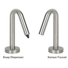 Fontana Inverted V-Shaped Brushed Nickel Finish Freestanding Dual Automatic Commercial Sensor Faucet And Soap Dispenser
