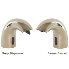 Fontana Peru Contemporary Style Shiny Gold Finish Deck Mount Dual Automatic Commercial Sensor Faucet And Soap Dispenser