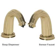 Fontana Napoli Shiny Gold Finish Deck Mount Dual Automatic Commercial Sensor Faucet And Soap Dispenser