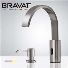 Fontana Commercial Brushed Nickel Touch less Automatic Sensor Faucet & Manual Soap Dispenser