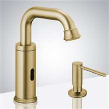 Fontana Commercial Brushed Gold Touchless Automatic Sensor Faucet & Manual Soap Dispenser