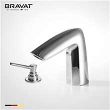 Bravat Commercial Deck Mount Bright Chrome Automatic Sensor Faucet with Manual Soap Dispenser