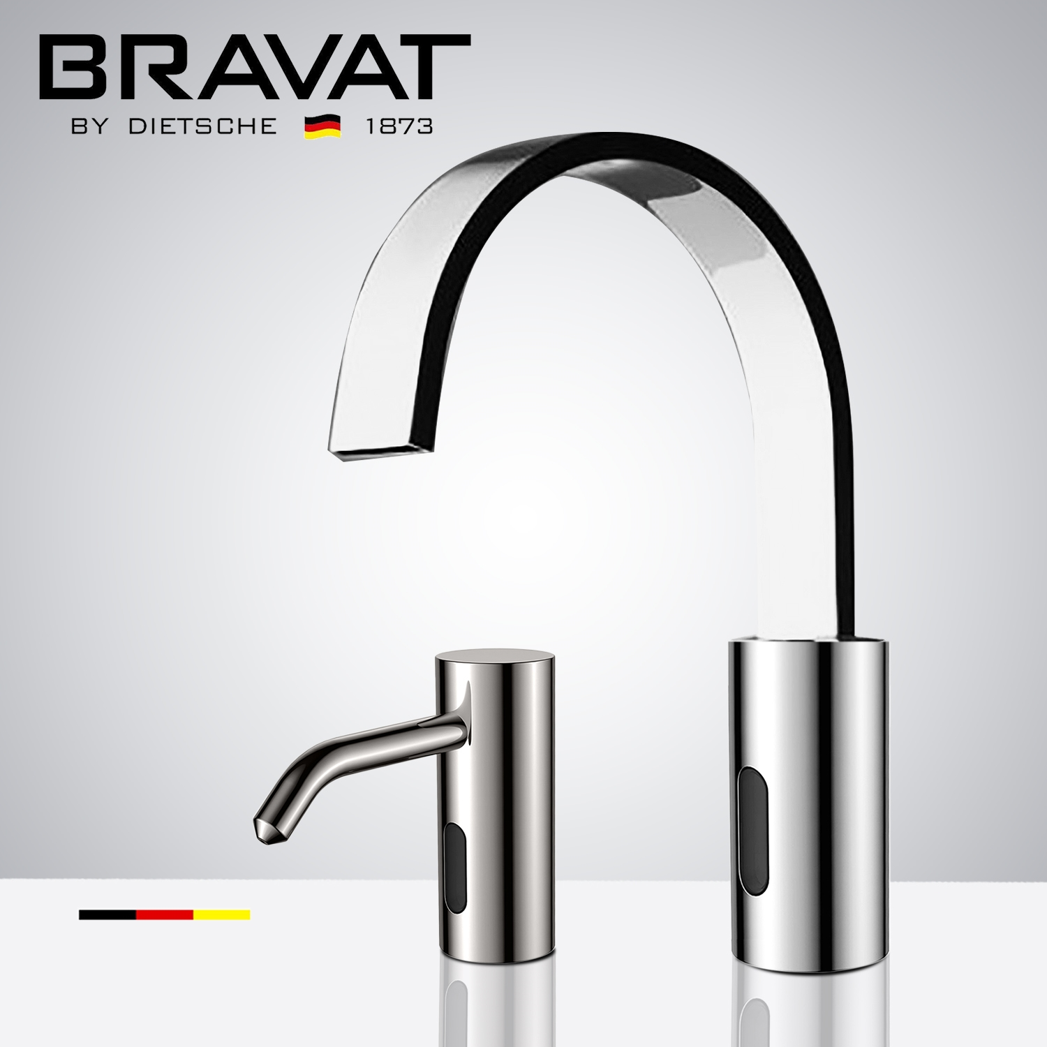 Fontana Bravat Freestanding Chrome Finish Automatic Commercial Sensor Faucet & Automatic Soap Dispenser