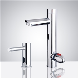 Fontana Toulouse Motion Sensor Faucet & Automatic Soap Dispenser for Restrooms in Chrome Finish
