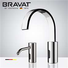 Fontana Bravat Freestanding Automatic Commercial Sensor Faucet & Automatic Soap Dispenser in Chrome