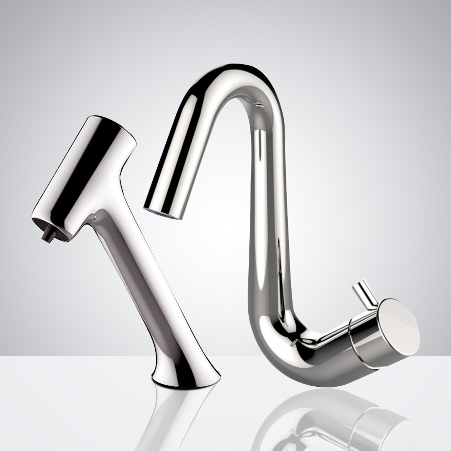 Fontana Le Havre Chrome Finish Freestanding Automatic Commercial Sensor Faucet & Automatic Soap Dispenser