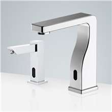 Fontana Carpi Chrome Freestanding Automatic Commercial Sensor Faucet & Automatic Soap Dispenser