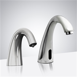 Fontana Le Havre Motion Sensor Faucet & Automatic Soap Dispenser for Restrooms in Shiny Chrome