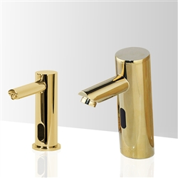 Fontana Chatou Motion Sensor Faucet & Automatic Soap Dispenser for Restrooms in Gold