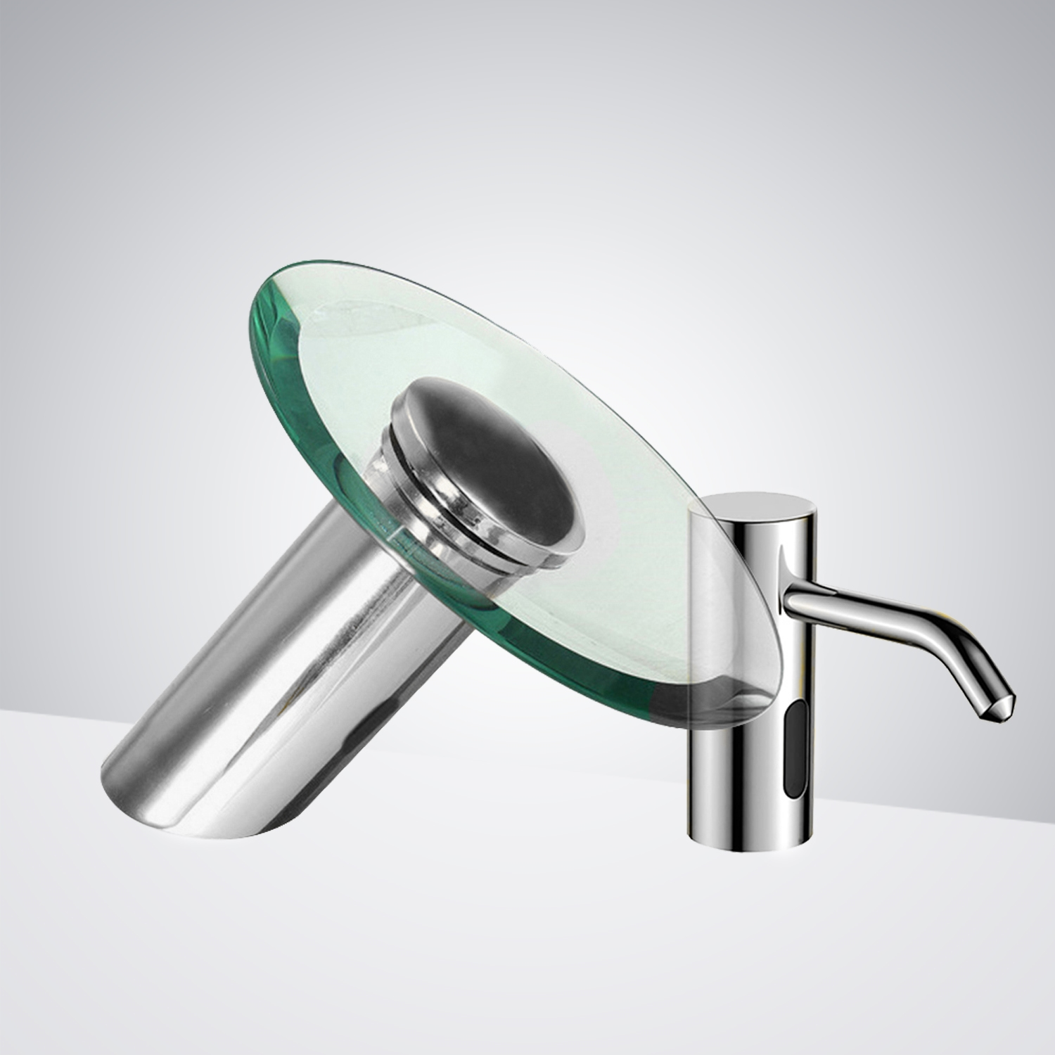 Fontana Sénart Chrome Waterfall Motion Sensor Faucet & Automatic Liquid Foam Soap Dispenser for Restrooms in Chrome