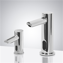 Fontana Carpi Chrome Motion Sensor Faucet & Touch Free Automatic Wall Mount Soap Dispenser for Restrooms