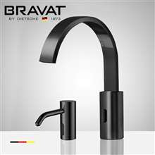 Fontana Bravat Black Touchless Motion Sensor Faucet, Automatic Liquid Soap Dispenser for Restrooms