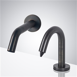 Fontana Chatou Wall Mounted Oil Rubbed Bronze Touchless Motion Sensor Faucet & Automatic Soap Dispenser for Restrooms