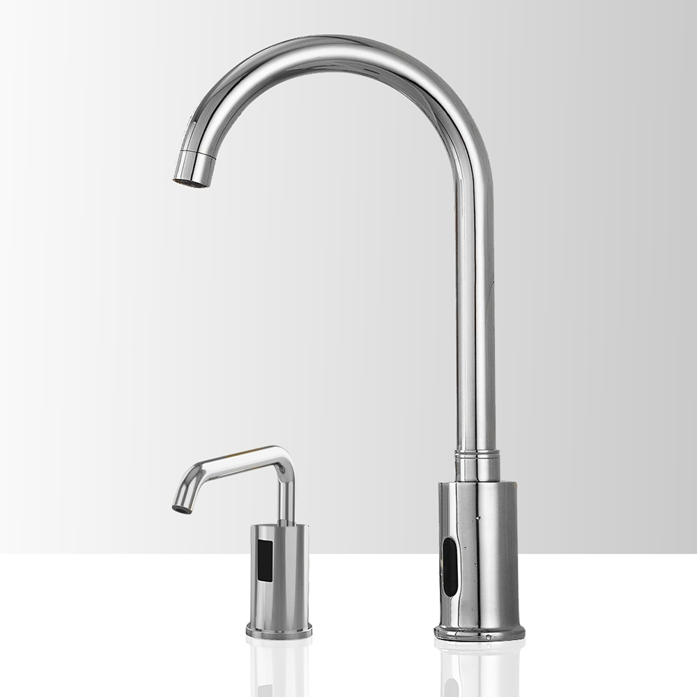 Fontana Marsala Gooseneck Automatic Motion Sensor Faucet & Automatic Liquid Soap Dispenser for Restrooms in Chrome