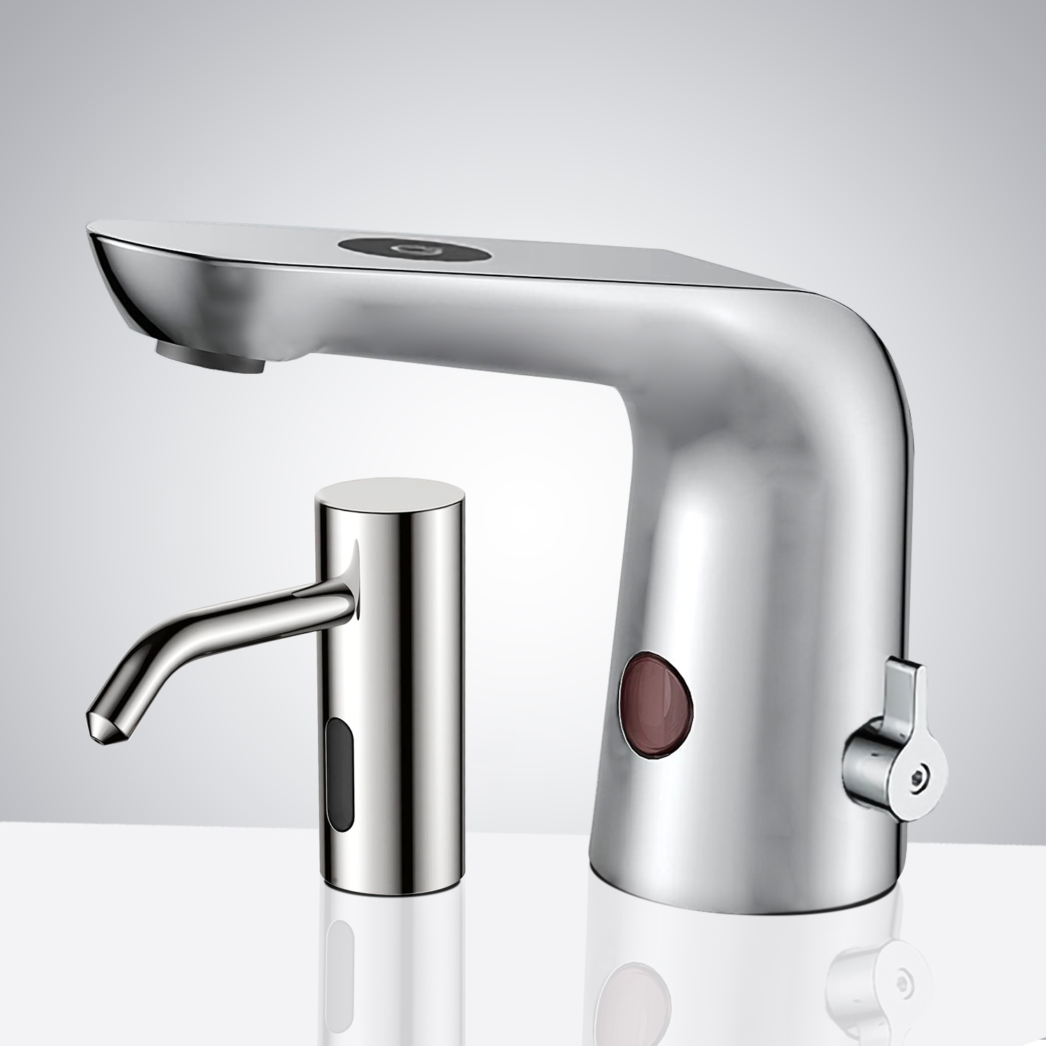 Fontana Deauville Brushed Nickel Commercial Touchless Motion Sensor Faucet & Automatic Deck Mount Liquid Soap Dispenser for Restrooms