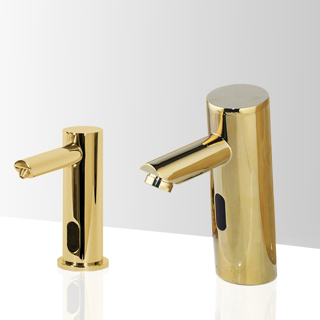 Fontana Marsala Gold Commercial Motion Sensor Faucet & Deck Mounted Automatic Liquid Soap Dispenser for Restrooms