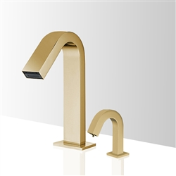 Fontana Valence Brushed Gold Finish Freestanding Motion Sensor Faucet & Automatic Liquid Soap Dispenser for Restrooms