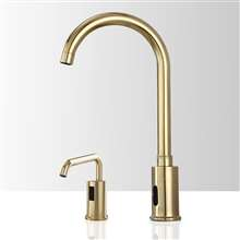 Fontana St. Gallen Gooseneck Gold Motion Sensor Faucet & Automatic Liquid Soap Dispenser for Restrooms