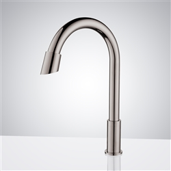 Fontana Rio Commercial Goose Neck Brushed Nickel Touchless Automatic Sensor Faucets Bathroom & Kitchen