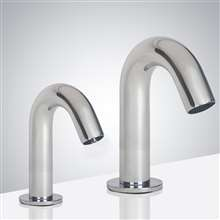 Fontana Reno Goose Neck Chrome Finish Dual Commercial Automatic Sensor Faucet And Soap Dispenser