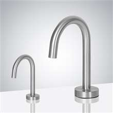 Fontana Chicago Goose Neck Brushed Nickel Finish Freestanding Dual Automatic Commercial Sensor Faucet And Soap Dispenser