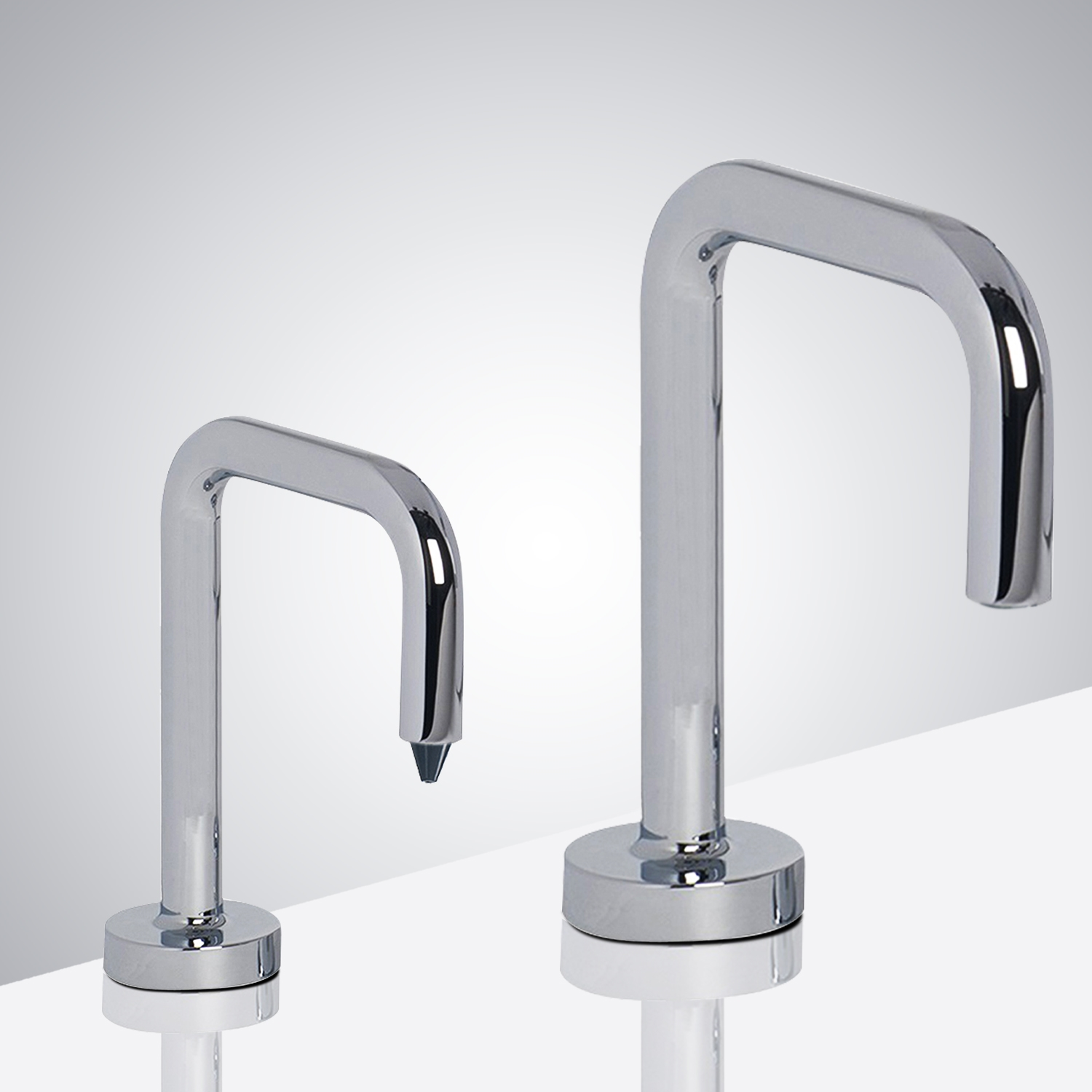Fontana Reno Inverted U-Shaped Chrome Finish Freestanding Dual Automatic Commercial Sensor Faucet And Soap Dispenser