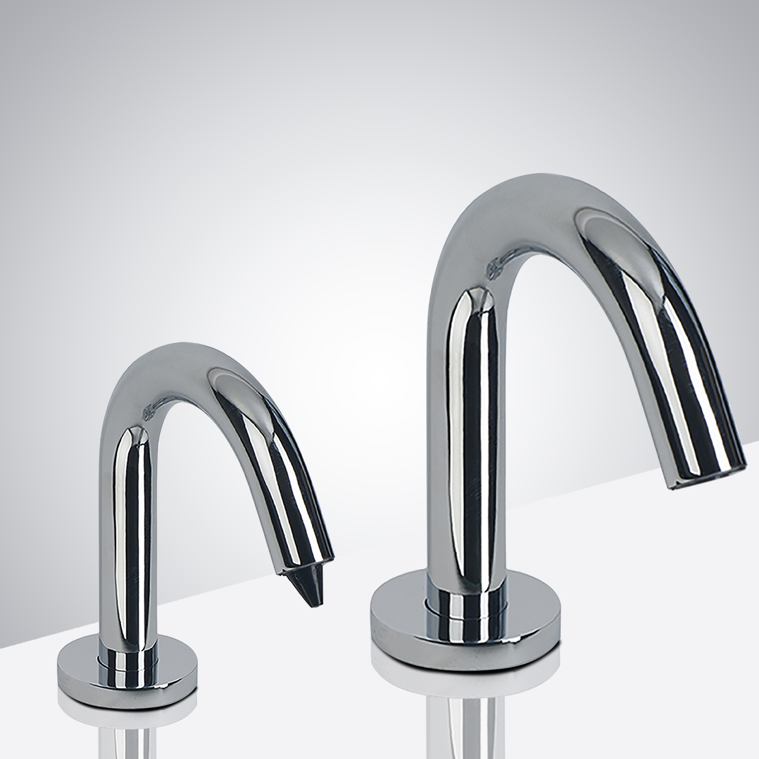 Fontana Denver Goose Neck Chrome Finish Dual Automatic Commercial Sensor Faucet And Soap Dispenser