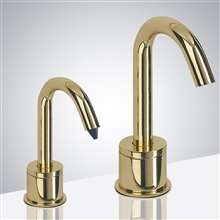 Fontana Verona Goose Neck Shiny Gold Finish Freestanding Dual Automatic Commercial Sensor Faucet And Soap Dispenser